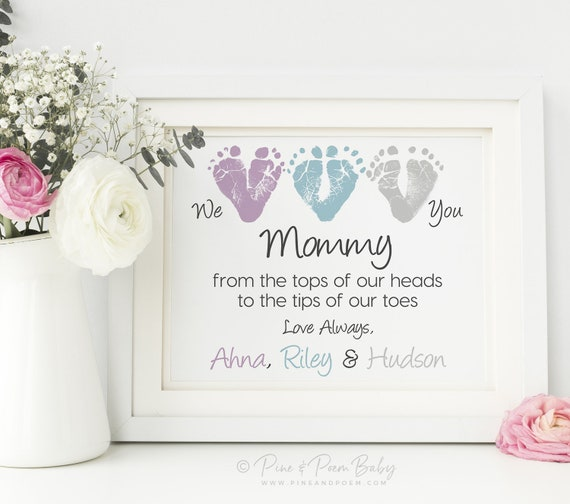8x10 Personalized UNFRAMED Baby Triplets Gift