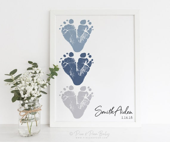 New Dad Gift from Baby Footprint Heart, First Father's Day, Personalized with your Child's Feet, 8x10 or 11x14 inches UNFRAMED
