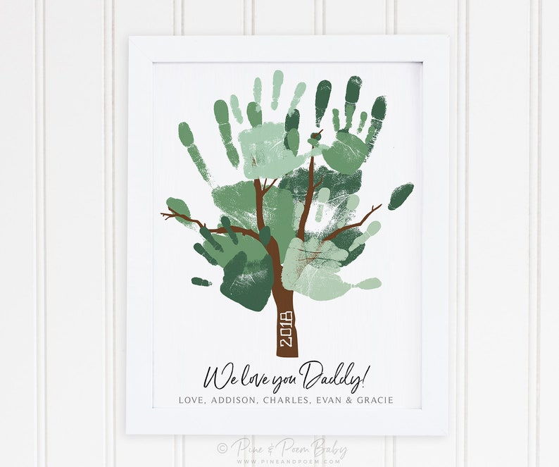 Father's Day Gift for Dad Handprint Tree Art from Kids image 0