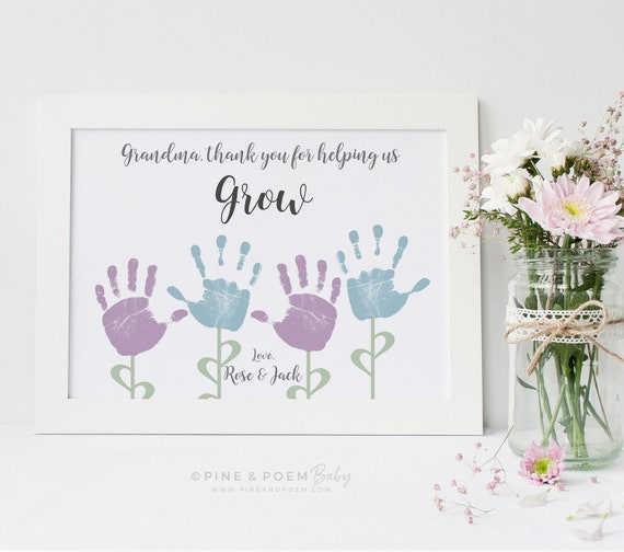 Grandma Gift Mothers Day Handprint Flower Personalized Etsy