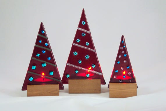 Set Of 3 Fused Glass Christmas Tree Luminaries Etsy