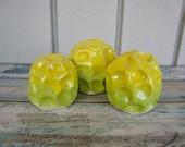 Neon Ceramic Mushrooms - Little Morel Mushroom Sculptures - Terrarium Design - Modern Fish Tank Decorations - Aquarium Rocks - Yellow Green