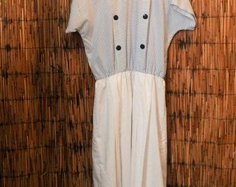 Vintage Manhattan Plaza Blue and White Dress Size 10 / 12