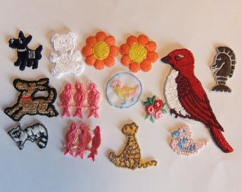 SALE! Lot of 14 Vintage Appliques Sew on Patches Cats, Birds, Dogs, Flowers, Bear, Knight Chess Piece