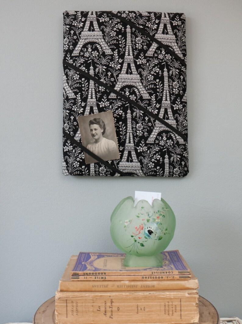 Black Eiffel Tower Paris handmade fabric bulletin board/memory board/ memo  board - retro - Parisian style - French - France - monochrome