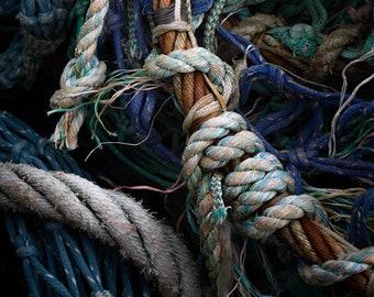 Ropes Photography - Fishing Harbour Fine Art Photograph - Irish Seaside - Northern Ireland - Nautical Art Print