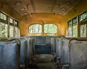 Old School Bus Photography - Abandoned 1950s Yellow Bus Print - Vintage American Automobile - Nostalgic Childhood Art