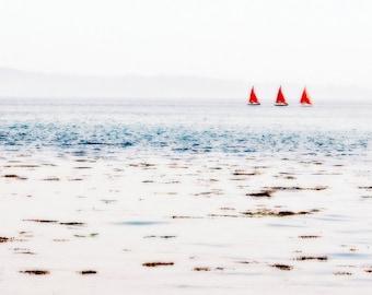 Ocean Photography - Red Boats Fine Art Photograph - Red Sails Print - Irish Ships - Beach House Decor - 5x10