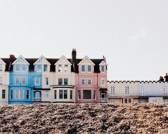 Seaside Print - Pastel Houses Fine Art Photograph - English Beach Decor - Aldeburgh, Suffolk - 8x12