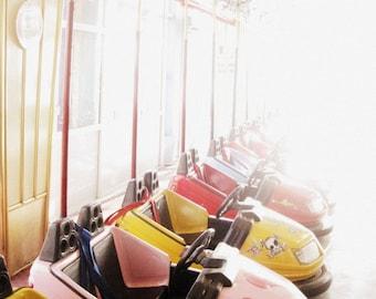 Sala Decor recinto ferial fotografía - Dodgem coches Fine Art Print - infantil - arte Pastel infantil - 8 x 10