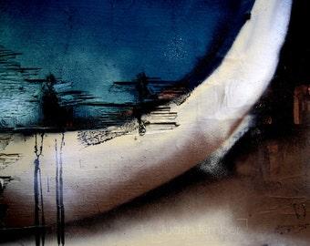 Abstract Photography - Blue Graffiti Print - Belfast Street Art - Northern Ireland -  Beautiful Graffiti - 8x10