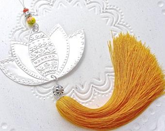 20% DISCOUNT Hanging Flower Decoration, Silver Lotus Decor, Indian Patterns Embossed Metal, Boho Room Decor, Yellow Tassel