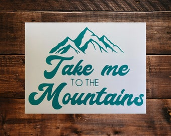 Mountains, Outdoors, camping, hiking, decal, DIY decal, laptop decal, car window decal