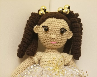 Gold Sparkle Crochet Doll, Crochet Toy, Crochet Girl,  Custom-made, Amigurumi Doll