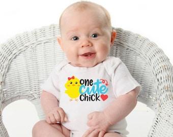 One Cute Chick Onsie, T-Shirts, Designs, Children T-Shirts, Newborn, Baby Shower, Custom Made