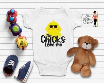 Chicks Love Me Onsie, T-Shirts, Designs, Children T-Shirts, Newborn, Baby Shower, Custom Made