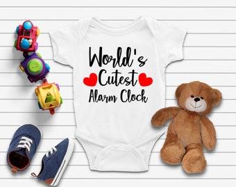 Alarm Clock Onsie, T-Shirts, Designs, Children T-Shirts, Newborn, Baby Shower, Custom Made