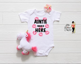 Auntie Was Here Onsie, T-Shirts, Designs, Children T-Shirts, Newborn, Baby Shower, Custom Made