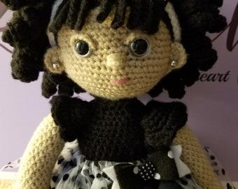 Black Tie Affair, Party Crochet Doll, Crochet Toy, Crochet Girl,  Custom-made, Baby Girl