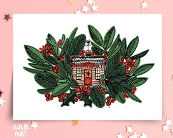 Winter Cottage Christmas Cards Pack - Unique Holiday Cards, Cute Retro Cosy Xmas Christmas Cards
