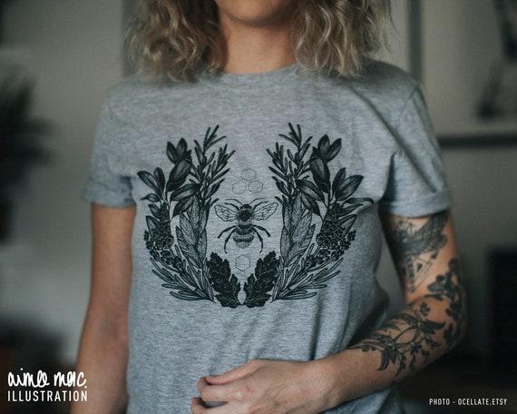 Lavender Bee T-Shirt - Botanical Illustration - Lavender Plant - Unisex S-XXL