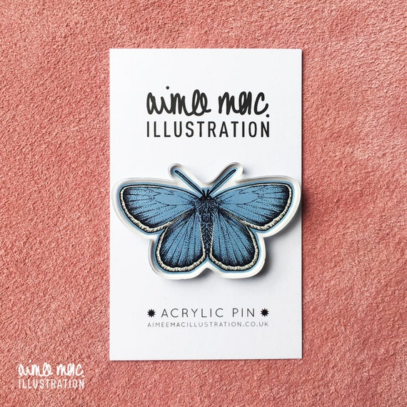 Blue Butterfly Pin - Acrylic Pin - Butterfly Pin Badge - Butterfly Brooch - Insect Brooch