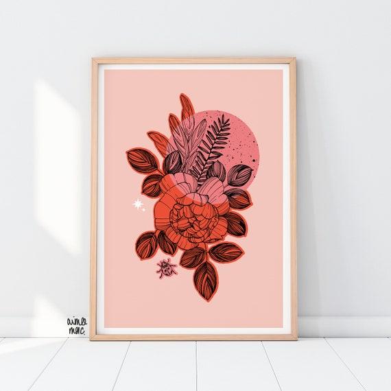Colour Block Rose / Sage / Ladybird Print - A4/A3 - Pink Red Wall Art - Botanical Print - Rose Print - Floral Illustration