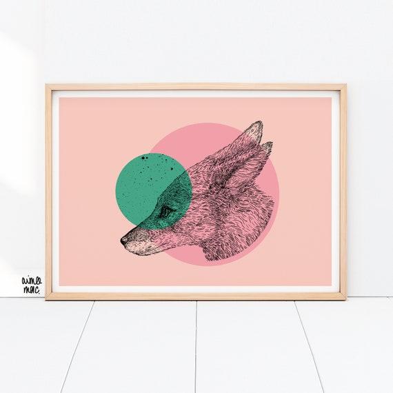 Colour Block Fox Print- A4/A3 - Pink Green Wall Art - Fox Illustration