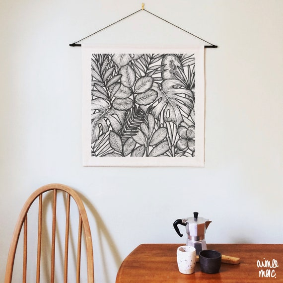 Botanical Woven Textile Wall Hanging - Rustic Spring Decor - Plant Lover Gift - Boho Decor - Textile Wall Art