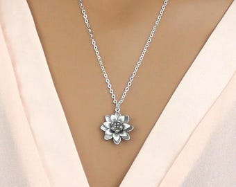 Lotus Necklace, Silver Flower Necklace Sterling Silver Chain