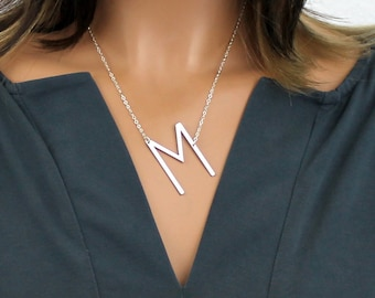 large initial necklace over size letter silver sideways rose gold initial gold personalized initial big initial bridesmaid gift