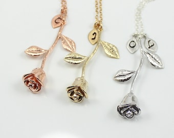 d25d124eddc5 Rose necklace with initial