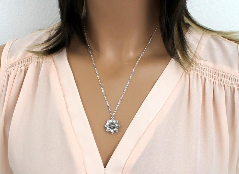 Lotus Necklace Silver Flower Necklace Sterling Silver Chain image 0