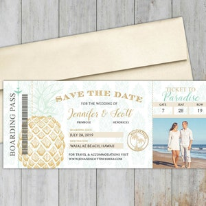 France Boarding Pass Save the Date with Optional Magnetic Backing  Photo Save the Date  Rose Gold Details