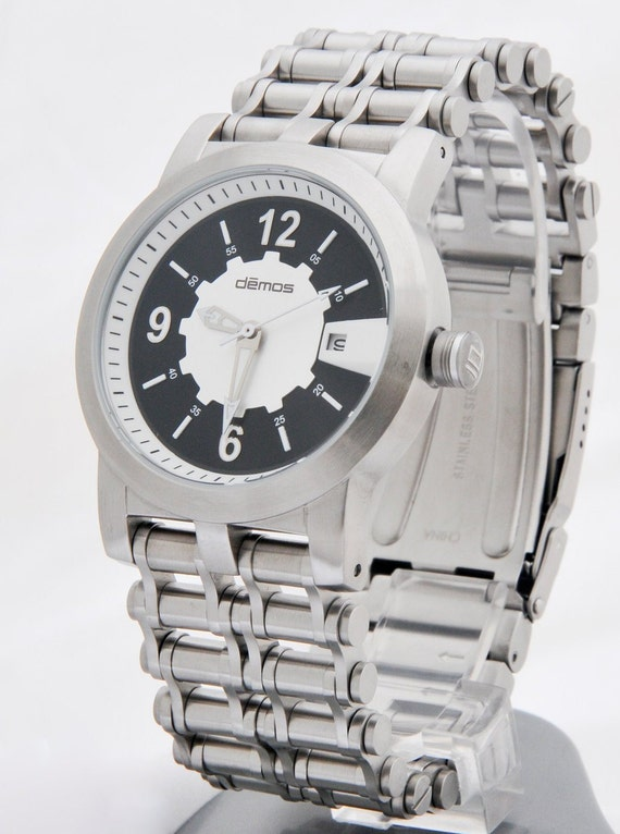 Motorcycle Bracelet Watch / Bikers wristwatch - brushed stainless steel bracelet Chain