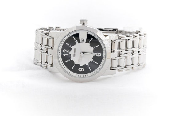 CHAIN watch / wristwatch / Bike Watch - Polished Stainless Steel Bracelet with Black / White Dial