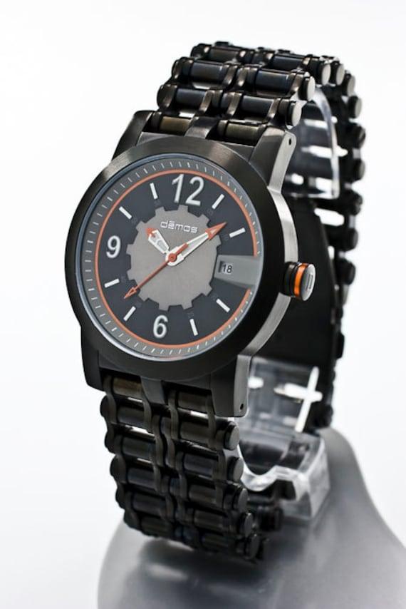 Mayans MC & Sons of Anarchy style - Motorcycle CHAIN Watch / Bikers wristwatch - Black IP Steel Bracelet with Black / Orange Demos Watch