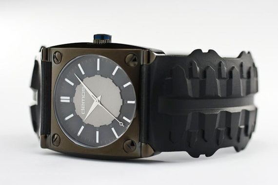 Mayans FX / Harley style - Motorcycle TREAD wristwatch - Tread w/ Polished Black colored case