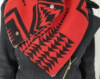Walking Rock Red Southwestern Wool Scarf