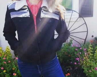 Diamond Ridge White Black Denim Jacket