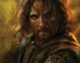 Aragorn Lord Of The Rings (Fellowship, Two Towers, Return of the King, Middle Earth) 11x17 Luster Art Print (Signed by Barry Sachs)