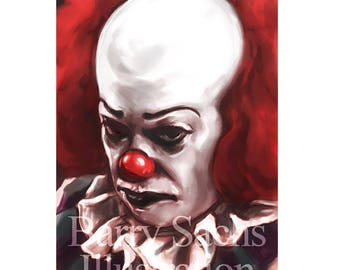 Pennywise the clown / IT (Tim Curry) 11x17 Print on 70 lb. Luster Fine Art Poster (Stephen King, Horror, Creepy Clowns, Horror Movie Art)