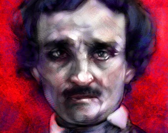 Edgar Allan Poe Baltimore Raven Fine Art 70 lb. Luster 11x17 Print with Red and Purple background by Barry Sachs Illustration