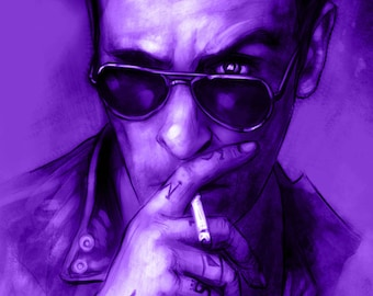 Preacher Cassidy Vampire Smoking Purple Night Fine Art Luster 70 lb. 11x17 print by Barry Sachs Illustration