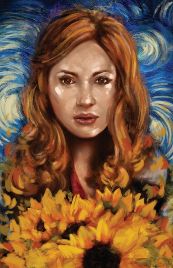 Amy Pond Portrait Doctor Who (Matt Smith) Vincent Van Gogh tournesols nuit paysage stylisé Art Illustration impression 11 x 17 imprimé lustre papier