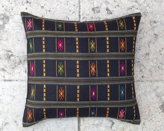 Tribal Pillow Cover - 20x20 inch, LAOTIAN pillow, Tribal pillow, Ethnic pillow cover, Floral pillow, Geometric cushion, Indie pillow