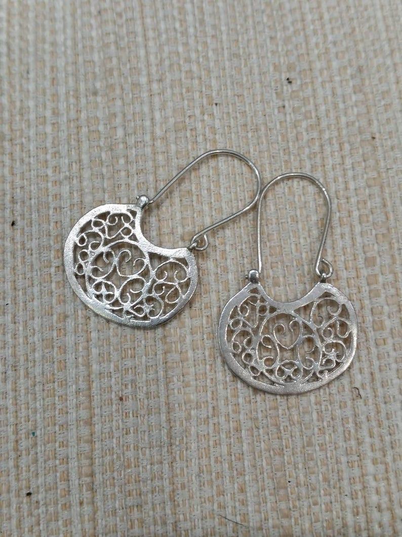 Boho Bohemian Earrings Silver Earrings Tribal Earrings Statement Earrings Gypsy Earrings Silver Spiral Earrings