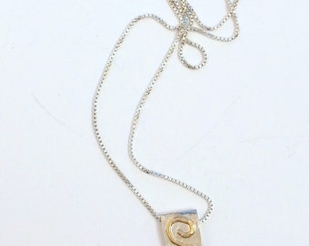 Sterling Necklace with 14K Gold Spiral stylish handcrafted Charm