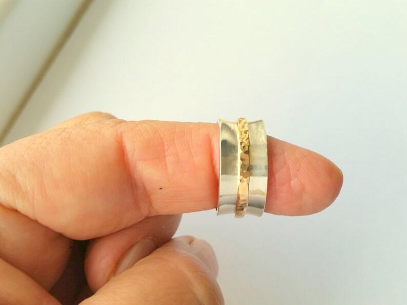 Sterling Silver /& 14K Gold Filled Spinner Ring Hammered Gold Jingle Ring