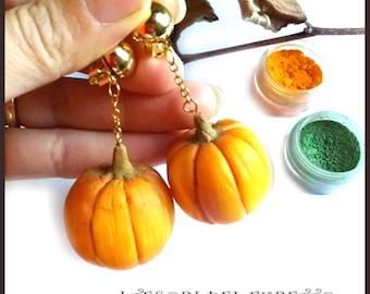 Earrings pumpkin halloween 3.5 cm autumn porcelain cold fimo gift idea orange pumpkins vegetables vegan christmas